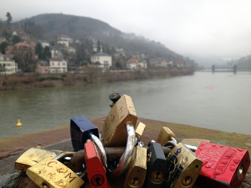 Love locks on the old bridge in Heidelberg