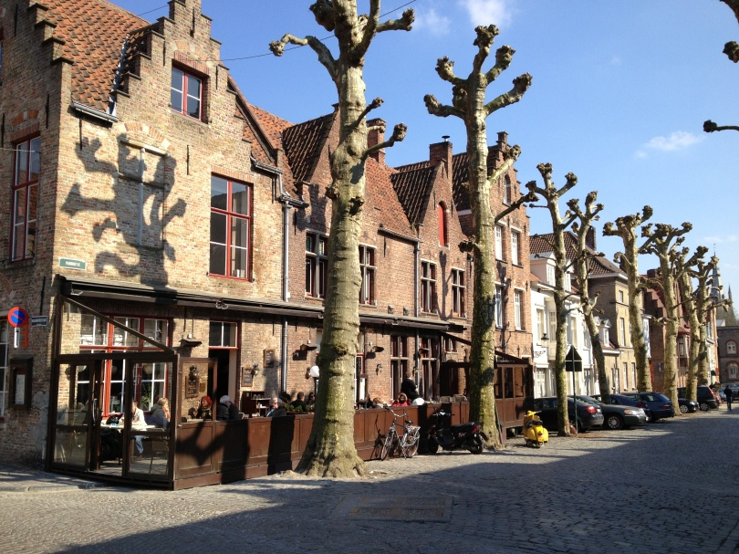 A row of houses and trees on a street in Bruges