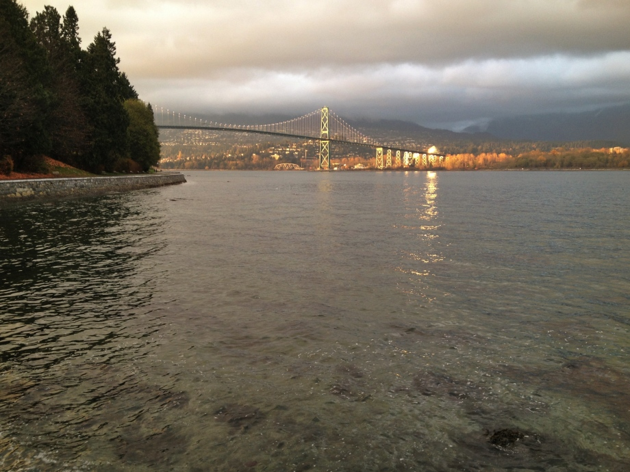 Lions Gate Bridge in Vancouver, seen from Stanley Park