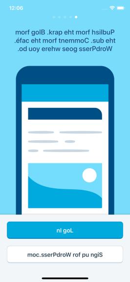 Screenshot of WordPress for iOS app with RTL pseudolanguage displaying backwards English text.